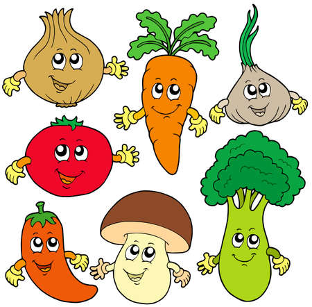 Cute cartoon vegetable collection - vector illustration.のイラスト素材