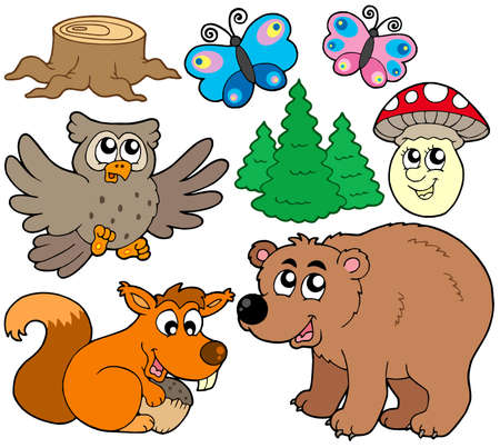 Forest animals collection 3 - vector illustration.のイラスト素材
