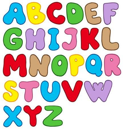 Cartoon alphabet on white background - vector illustration.