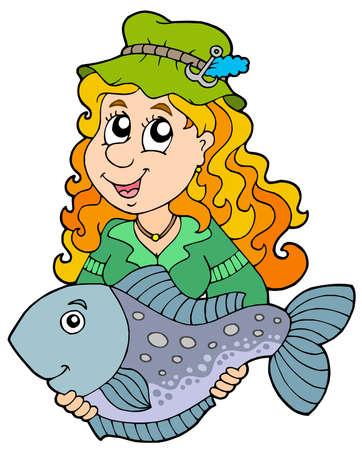 Fisherwoman holding big fish - vector illustration.