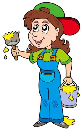 Cute house painter - vector illustration.