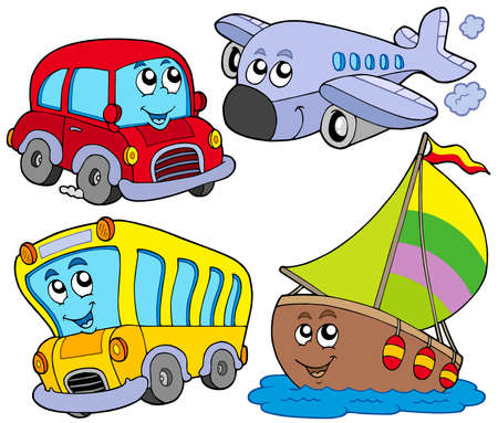 Photo for Various cartoon vehicles - vector illustration. - Royalty Free Image