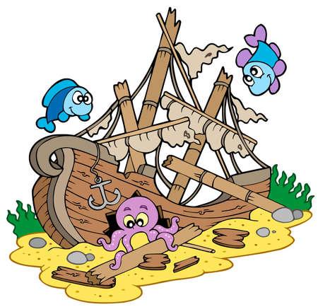 Illustration pour Shipwreck at sea bottom - vector illustration. - image libre de droit