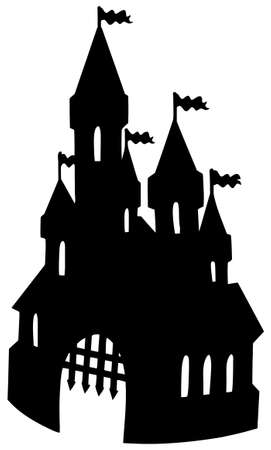 Illustration for Old castle silhouette - vector illustration. - Royalty Free Image