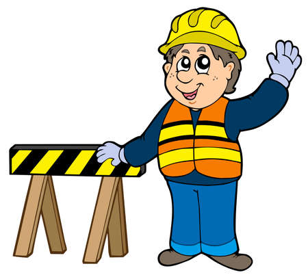 Cartoon construction worker -  illustration.
