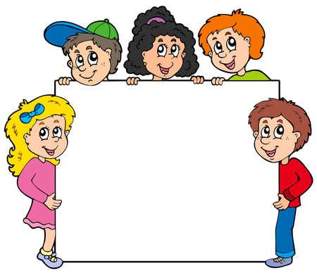 Illustration pour Various kids holding board - image libre de droit