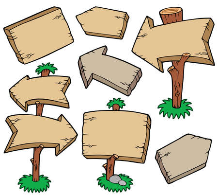Wooden boards collection - illustration.