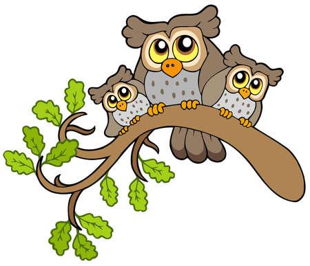 Illustration pour Three cute owls on branch   - image libre de droit