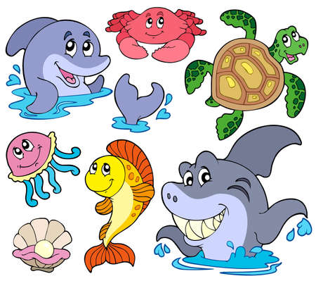 Set of marine animals - vector illustration.