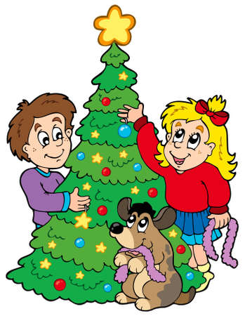 Two kids decorating Christmas tree - illustration.