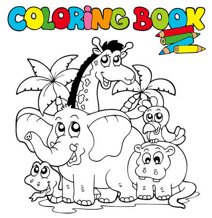 Photo for Coloring book with cute animals - illustration. - Royalty Free Image