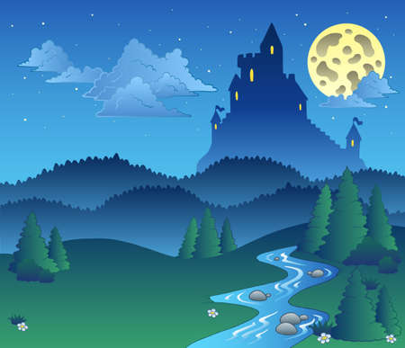 Illustration for Fairy tale landscape at night  - illustration. - Royalty Free Image