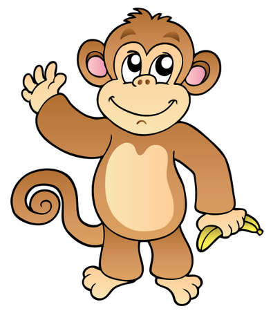 Cartoon waving monkey with banana - illustration.