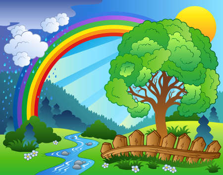 Landscape with rainbow and tree - illustration.