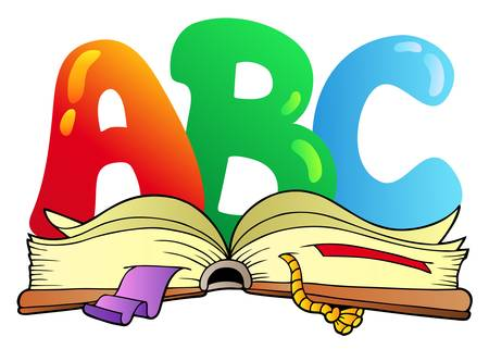 Cartoon ABC letters with open book - vector illustration.