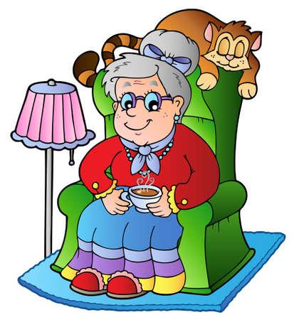 Cartoon grandma sitting in armchair - vector illustration.