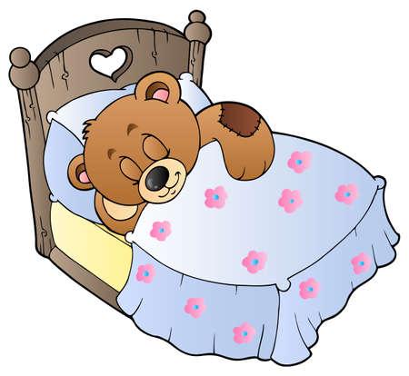 Cute sleeping teddy bear
