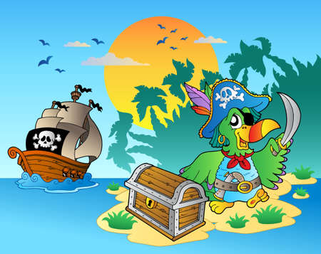 Pirate parrot and chest on island - vector illustration.