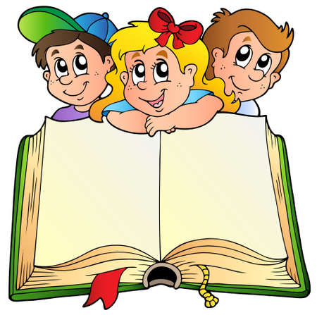Illustration pour Three children with opened book  - image libre de droit