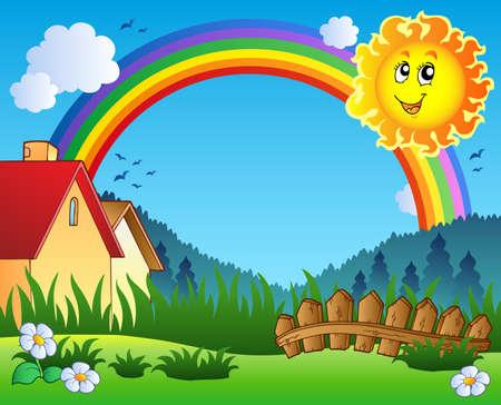 Foto de Landscape with Sun and rainbow  - Imagen libre de derechos