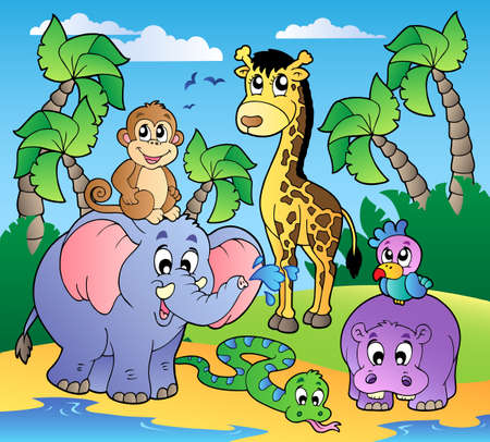Photo for African beach with cute animals - vector illustration. - Royalty Free Image