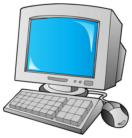 Cartoon desktop computer - vector illustration.
