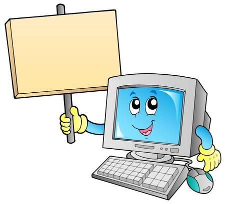 Desktop computer with blank board - vector illustration.