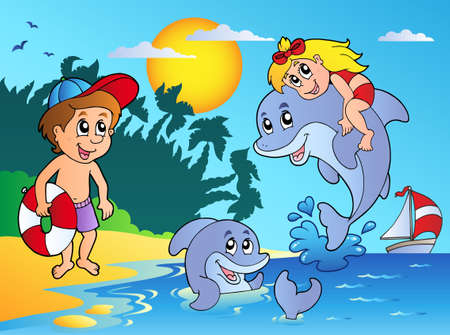 Illustration for Summer beach with kids and dolphins - vector illustration. - Royalty Free Image