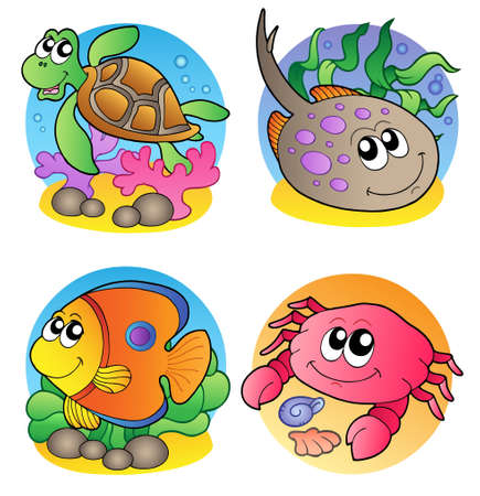 Foto de Various marine animals images 1 - vector illustration. - Imagen libre de derechos