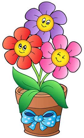 Pot with three cartoon flowers