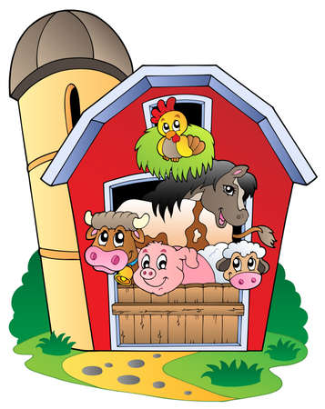 Photo for Barn with various farm animals - vector illustration. - Royalty Free Image