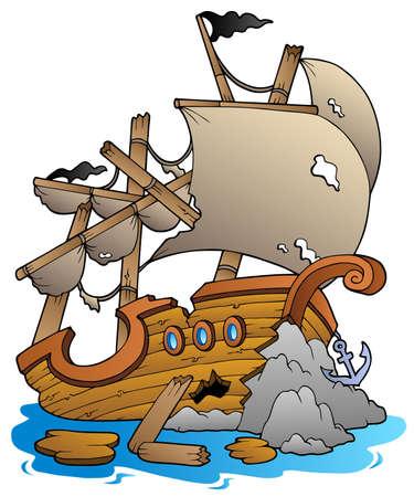 Illustration pour Shipwreck with rocks - vector illustration. - image libre de droit