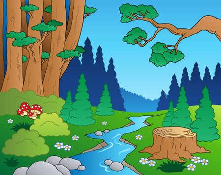 Illustration for Cartoon forest landscape - Royalty Free Image