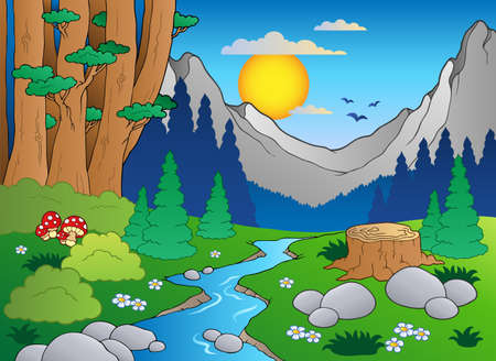 Foto de Cartoon forest landscape - Imagen libre de derechos