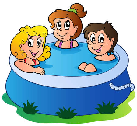 Three kids in pool - vector illustration.