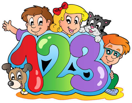 School theme with numbers