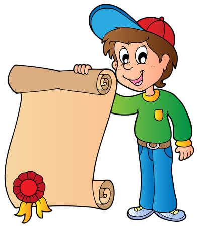 Boy holding diploma - vector illustration.