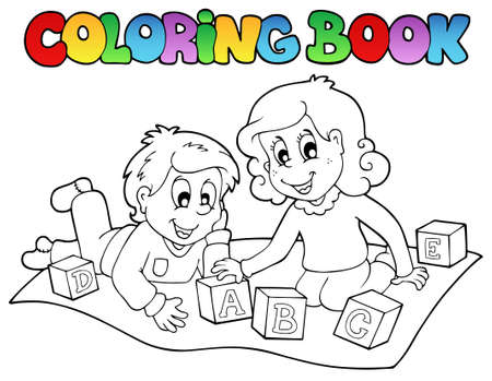 Coloring book with kids and bricks - vector illustration.