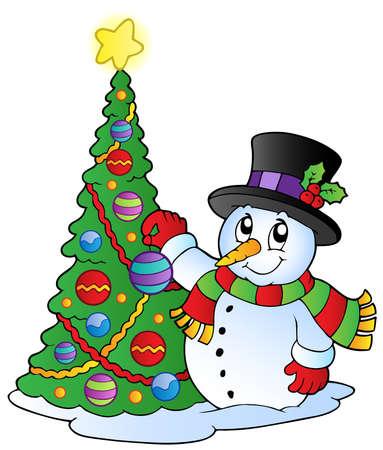 Cartoon snowman with Christmas tree - vector illustration.