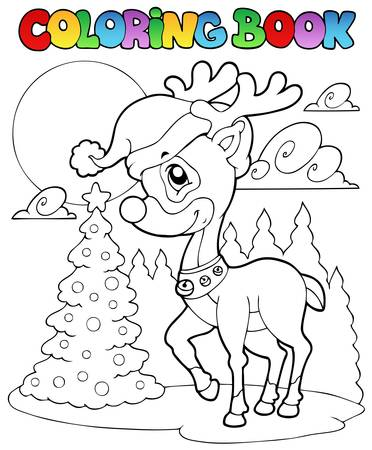 Coloring book Christmas deer 1 - vector illustration.のイラスト素材