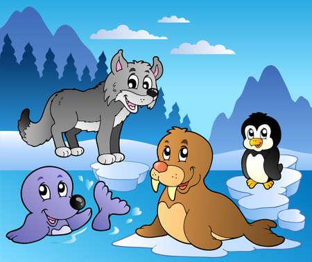 Foto de Winter scene with various animals 2 - vector illustration. - Imagen libre de derechos