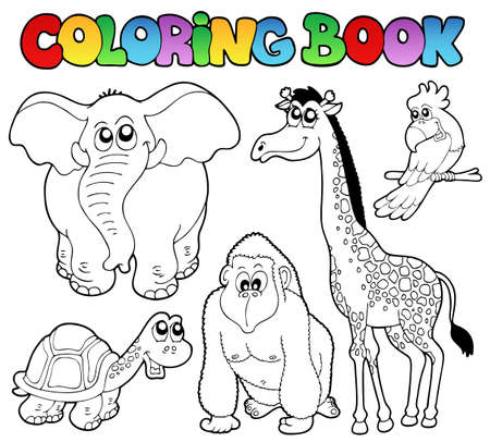 Photo for Coloring book tropical animals 2 - vector illustration. - Royalty Free Image