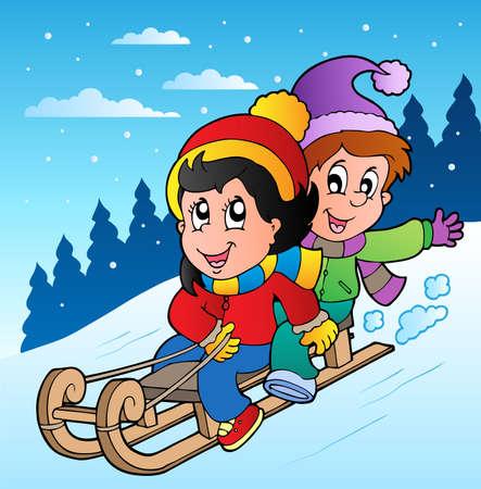 Winter scene with kids on sledge - vector illustration.
