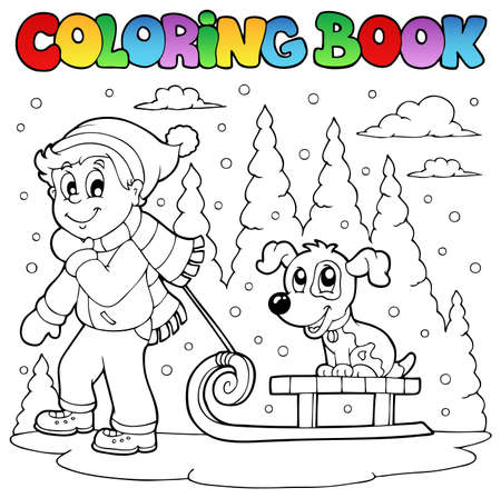 Coloring book winter theme illustration.のイラスト素材
