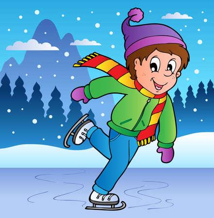Winter scene with skating boy illustration.