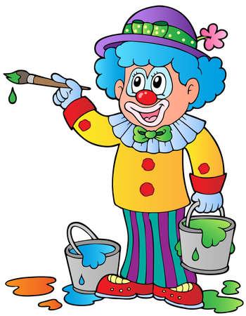 Cartoon clown artist - vector illustration.