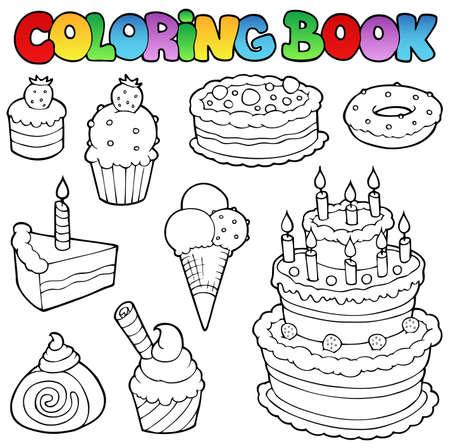 Vektor für Coloring book various cakes 1 - vector illustration. - Lizenzfreies Bild