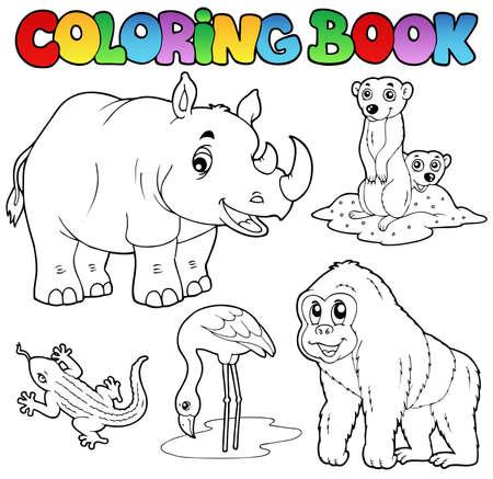 Foto de Coloring book zoo animals set 1 - vector illustration. - Imagen libre de derechos