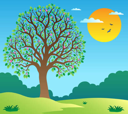 Foto de Scenery with leafy tree 1 - vector illustration. - Imagen libre de derechos
