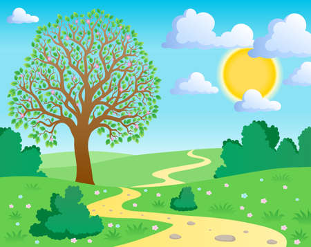 Spring theme landscape 1 - vector illustration.